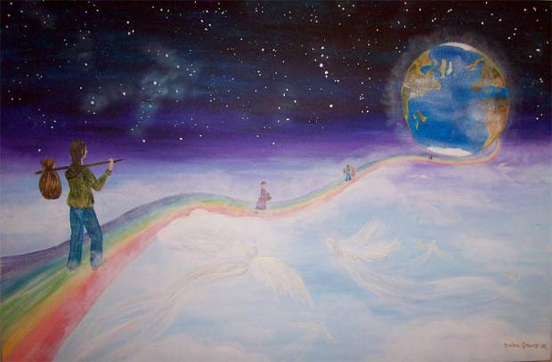 El arco iris hacia la Tierra