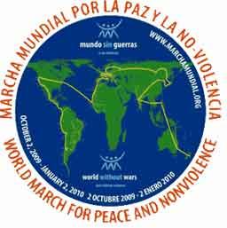 MARCHA MUNDIAL POR LA PAZ Y LA NOVIOLENCIA, Del 2 de octubre 2009 al 2 de enero 2010 1