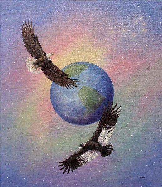 Aguilas sobrevolando el mundo