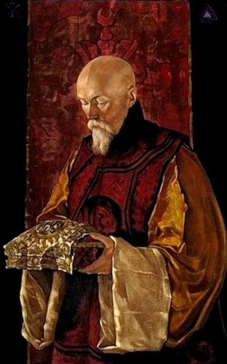 ROERICH Nicolas Roerich con el cofrecillo sagrado SHAMBHALA La Resplandeciente por Nicholas Roerich