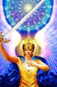 Arcangel-Miguel-con-espada-y-flor-de-la-vida-196x300