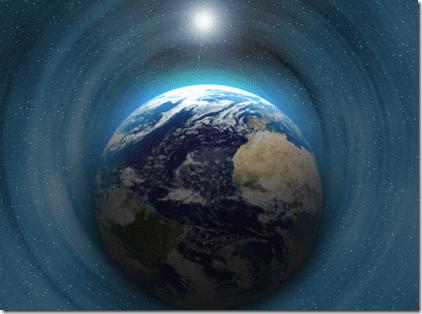 Tierra rodeada de luz