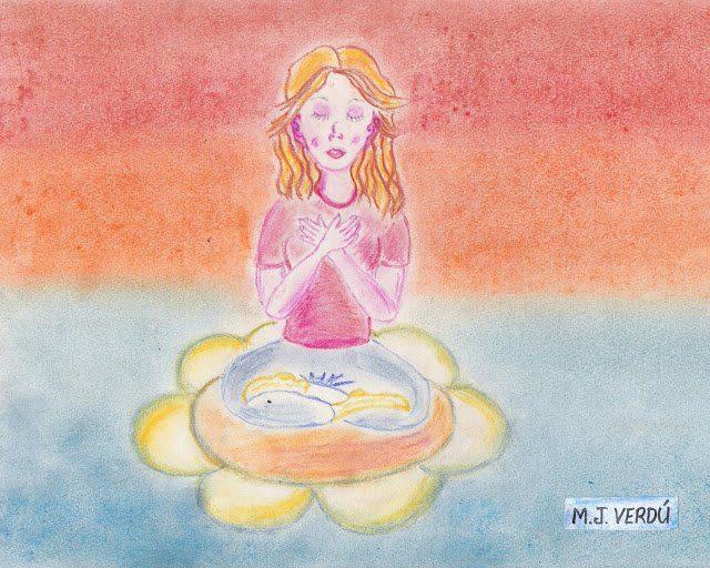 mujer en posicion de loto