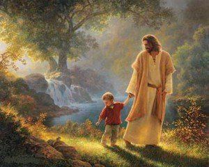 Jesús con un niño paseando por campo