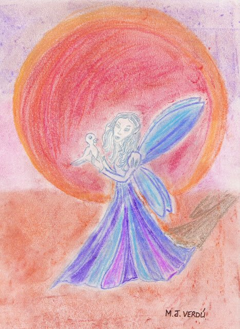 hada con paloma en la mano fondo rosa