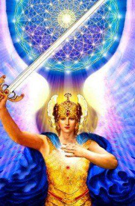 Arcangel Miguel con espada y flor de la vida