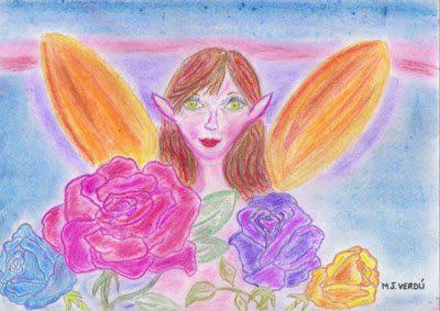 hada alas naranjas regogiendo rosas
