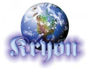 Kryon con el mundo y las letras azules