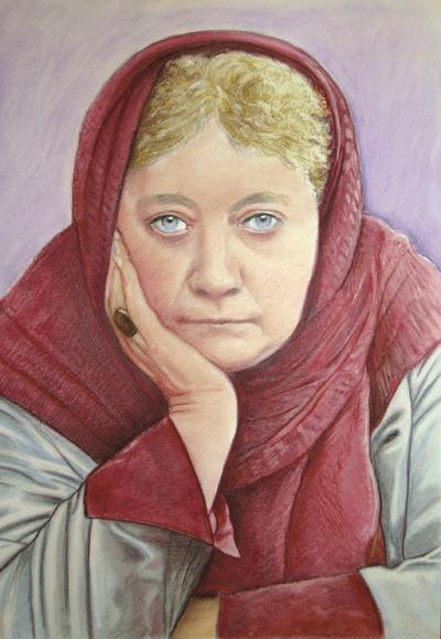 Helena Petrova Blavatsky ilustación coloreada