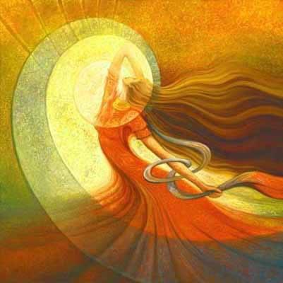 mujer en colores rojos y aura amarilla