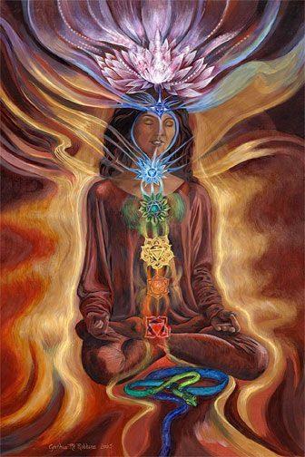 mujer con los chakras y flor de loto en la cabeza- randallita