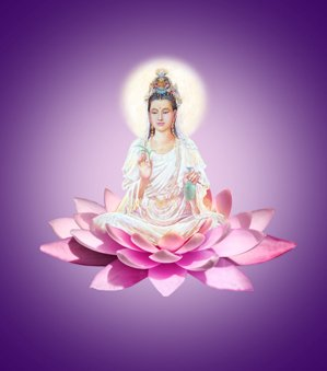 Kwan Yin sentada en flor de loto de color rosa