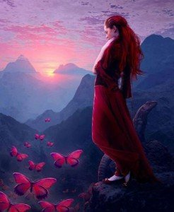 mujer triste mariposas posta de sol