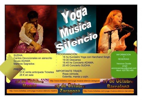 """Cartel Gira Española De Sudha 2013 """"Yoga & Música & Silencio"""""""