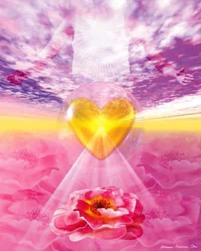 corazón amarillo con una rosa iluminada