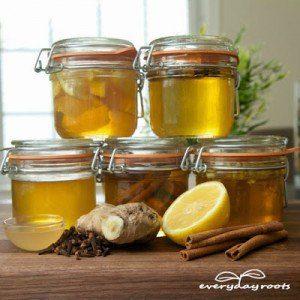 tarros de miel, limón, canela