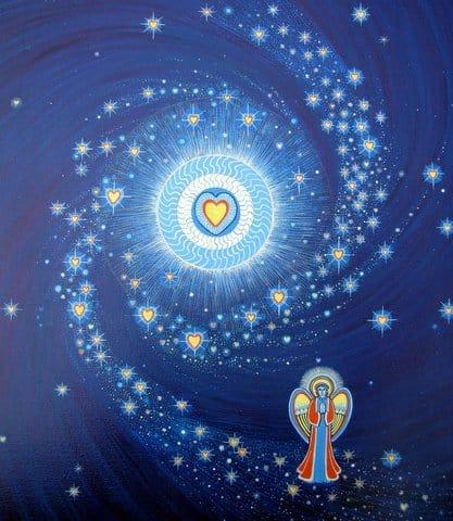 Angel rezando estrellas cielo amor corazon