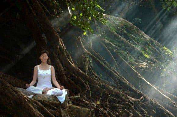 mujer meditando en medio del bosque