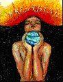 mujer con planeta Tierra entre las manos