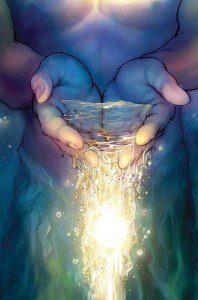 Manos con agua luz