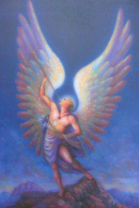 arcangel_Gabriel con alas y fondo azul