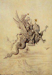 ángel sobre basilisco