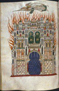 ángel sobre ciudad en llamas