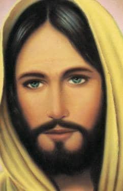 Jesus con manta amarilla en la cabeza