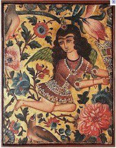 ángel con flores y pájaros