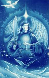 Arcángel San Miguel con espada y báscula