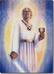Arcángel Miguel con la espada y caliz copa de poder luz virtud