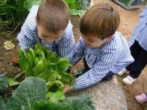 niños en huerto