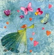 hada con flores y mariposas