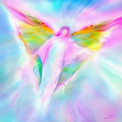 Arcángel Miguel con alas de colores - angel arcoiris