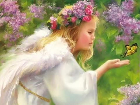 ángeles con flores