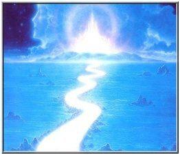 camino azul de luz