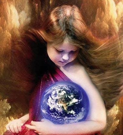niña con la tierra entre sus brazos- gaia