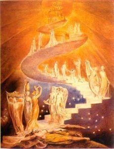 La Escalera de Jacob por William Blake. Dominio Público.