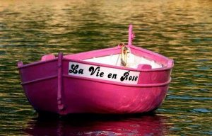 la vie en rose- barco de color rosa en el estanque
