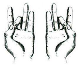 Sexta respiración: pulgar y dedo medio juntos (igual al segundo mudra)