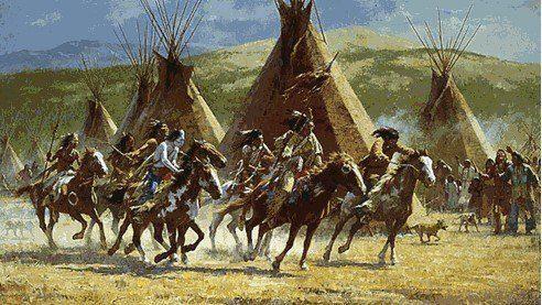 indios americanos en caballo y alrededor cabañas