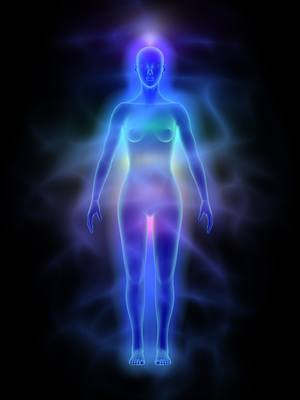 Illustration of human energy body (aura) with chakras - woman.