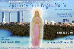 Transmisión de la aparición de la Virgen María en Madrid, 7 febrero 2016