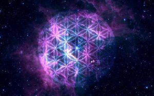 geometria-sagrada-flor-de-la-vida-celulas-fondo-estrellas-planetas-tierra-universo-cosmos