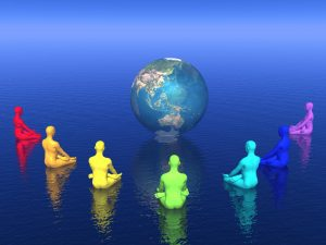 Seven human with chakra colors sitting in lotus position in front of the earth and meditating for it
