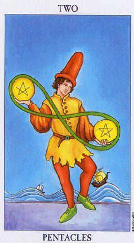 cartas del Tarot el dos de oro