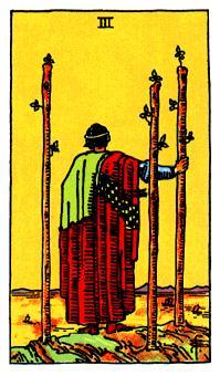 El tres de bastos en el tarot