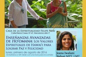 Sabiduria Hawaiana en Barcelona, 1 de Agosto de 2016