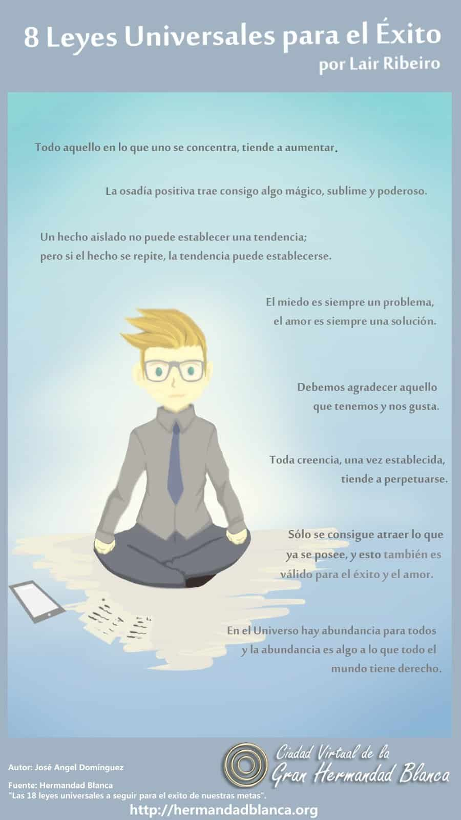 Infografía de Luz: 8 Leyes Universales para el Éxito por Lair Ribeiro.