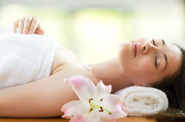 a beauty woman getting spa